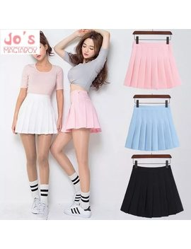2018 New Spring High Waist Ball Pleated Skirts Harajuku Denim Skirts Solid A Line Sailor Skirt Plus Size Japanese School Uniform by Jo's Magia Box