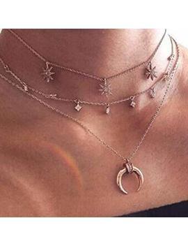 Canvivi Mehrschichtige Halskette Stern Anhänger Halskette Damen by Amazon