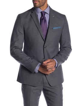 Medium Grey Solid Two Button Notch Lapel Slim Fit Suit Separates Jacket by Original Penguin
