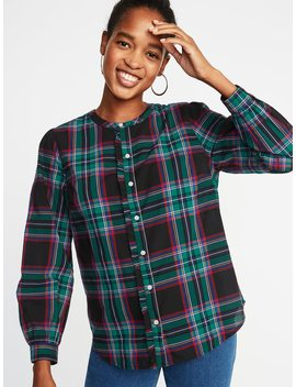 Relaxed Plaid Ruffle Trim Shirt For Women by Old Navy