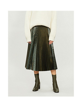Evie Metallic Striped Pleated Woven Skirt by Reiss