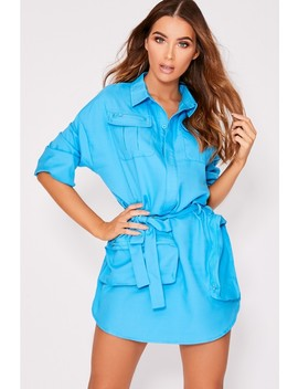 Kym Blue Multi Pocket Utility Shirt Dress by In The Style