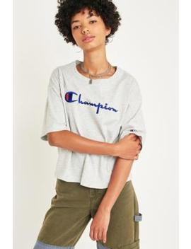Champion Oversized Grey Logo Script Crop T Shirt by Champion