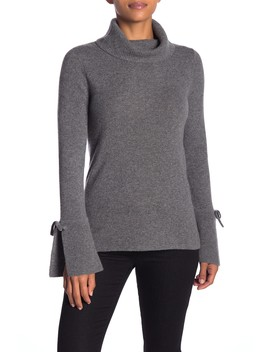 Cashmere Tie Flare Turtleneck Sweater by Sofia Cashmere