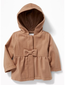 Hooded Bow Front Velour Coat For Baby by Old Navy