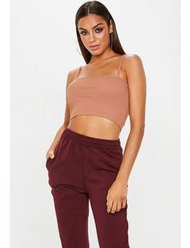Nude Straight Neck Strappy Ribbed Crop Top by Missguided