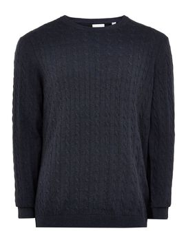 Only &Amp; Sons Navy 'alex' Cable Jumper by Topman