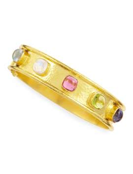 Tutti Frutti Stone Studded 19k Gold Bangle by Elizabeth Locke