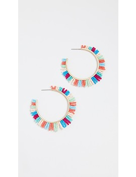 Beaded Spikey Fringe Hoop Earrings by Rebecca Minkoff