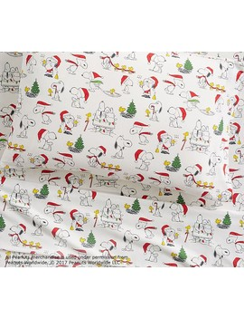 Organic Flannel Peanuts® Holiday Sheet Set by Pottery Barn Kids