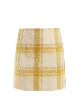 Checked Wool Blend Mini Skirt by Alexachung