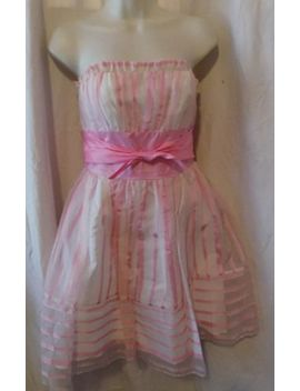 Betsey Johnson Evening 100 Percents Silk  Pink & White Strapless Party Dress Sz 6 by Betsey Johnson