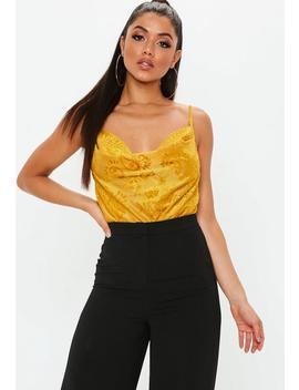 Yellow Devore Burnout Cowl Neck Bodysuit by Missguided
