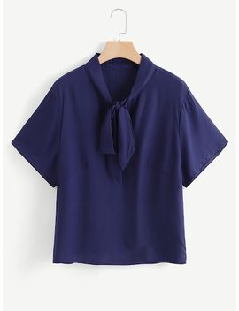 Plus Solid Tied Neck Blouse by Shein
