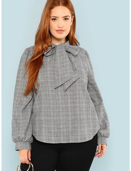 Plus Bow Tie Neck Curved Hem Plaid Blouse by Shein