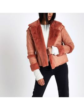 Pink Faux Shearling Jacket by River Island