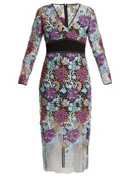 V Neck Floral Lace Dress by Diane Von Furstenberg