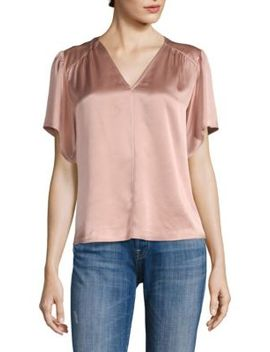 Flutter Sleeve Charmeuse Blouse by Rebecca Taylor