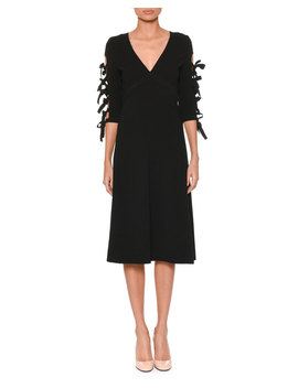 V Neck Bow Sleeve A Line Crepe Dress by Bottega Veneta