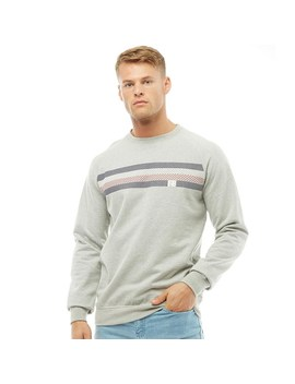 Fred & Boston Mens Crew Neck Sweatshirt With Chest Print Grey Marl by Mand M Direct