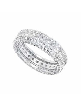 Barzel Vintage Style 5 Rows Cubic Zirconia Wide Band Statement Cocktail Eternity Band Ring 18k White Gold Plated Jewelry by Barzel