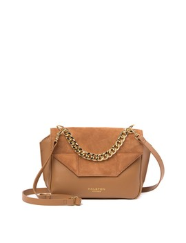 Leather & Suede Flap Crossbody Bag by Halston Heritage