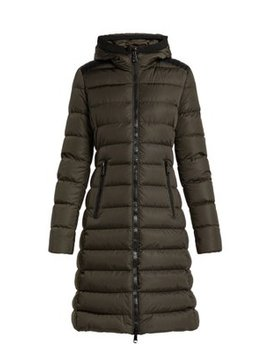 Taleve Leather Panel Quilted Coat by Moncler