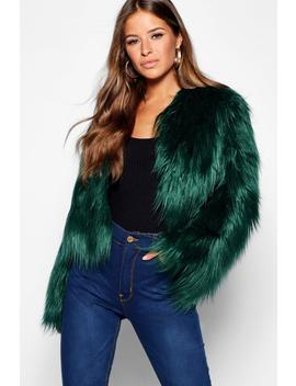 Petite Mongolian Cropped Faux Fur Coat by Boohoo
