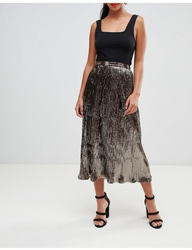 Asos Design Petite Pleated Sequin Midi Skirt by Asos Design