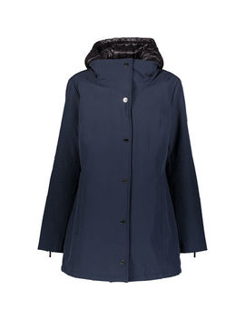 Navy & Black Storm Hooded Mac Jacket by Dkny