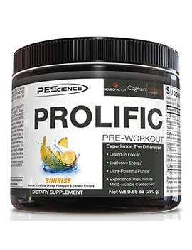 Pe Science Prolific, Sunrise Flavor, Stimulant Pre Workout, 9.88 Oz, 40 Scoops by Pe Science