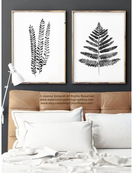 Fern Illustration Set 2 Ferns, Black White Grey Watercolour Art Print, Abstract Botanical Charcoal Drawing, Fern Leaf Living Room Ink Decor by Etsy