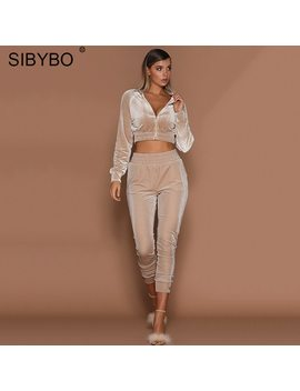 Sibybo Velvet Casual Tracksuit Women 2 Pieces Set Outtwear Sweatsuit Zipper Tracksuit Long Sleeve Sweatshirt+Pants Women's Sets by Julissa Mo