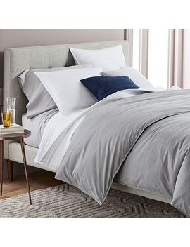 Organic Washed Cotton Windowpane Duvet Cover + Shams by West Elm