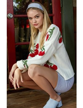 Lottie Moss Cherry Pullover Sweater by Pacsun
