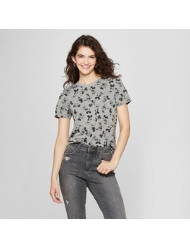 Women's Disney Short Sleeve Mickey Mouse Print T Shirt (Juniors') Heather Gray by Disney