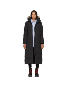 Black Down & Fur Long Mystique Parka by Canada Goose