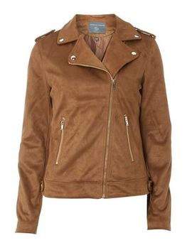 Dorothy Perkins   Tall Tan Suede Biker Jacket by Dorothy Perkins