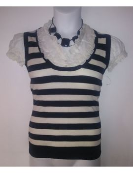 Tempted Women Sz S/M Black White Striped Gothic Ruffle Neckline Puff Sleeve Top by Tempted