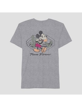 Men's Mickey Mouse Short Sleeve Texas Graphic T Shirt Heather Gray by Disney