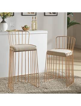 Matisha Upholstered Gold Finish Metal Barstool By I Nspire Q Bold by I Nspire Q