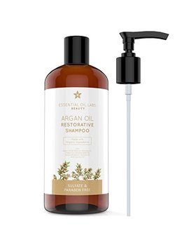 Argan Oil Shampoo, 16 Oz, Made With Organic Ingredients, Restorative For All Hair Types, Color Safe Shampoo, Sulfate & Paraben Free By Essential Oil Labs by Essential Oil Labs