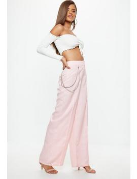 Petite Pink Check Chain Wide Leg Trousers by Missguided
