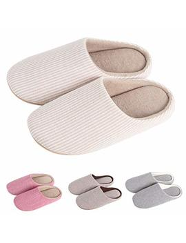 Krimus Women's & Men's Slippers Striped/Fleece Memory Foam Plush Lining Slip On Clog House Shoes Indoor | Outdoor Use by Krimus
