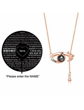 Cuidado 925 Sterling Silver Projective Necklace, The Memory Of Love Nanotechnology Necklace, Douyin Necklace   100 Different Languages For I Love U by Cuidado