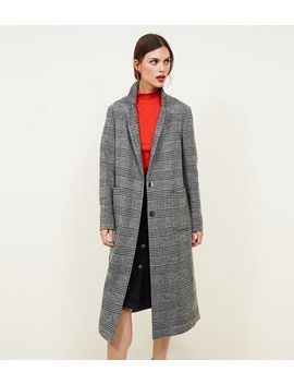 Black Check Double Breasted Maxi Coat by New Look