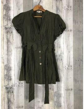 Mine Womens Medium Olive Green Blouse Puff Sleeves Grommets Casual Work Boho by Mine