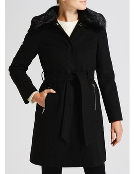 Faux Fur Collar Tie Front Coat by Matalan
