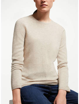 John Lewis & Partners Cashmere Crew Neck Sweater, Neutral by John Lewis & Partners