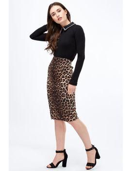Leopard Print Midi Skirt by Select